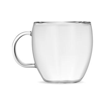 Kubek do kawy z przezroczystego szkła. przezroczysta filiżanka do herbaty