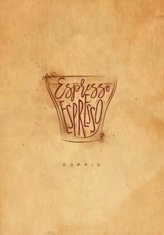 Kubek doppio z napisem espresso w stylu graficznym vintage, rysunek z rzemiosłem