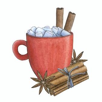 Kubek gorącego napoju z piankami, cynamonem i gwiazdkami anyżu. kartka świąteczna