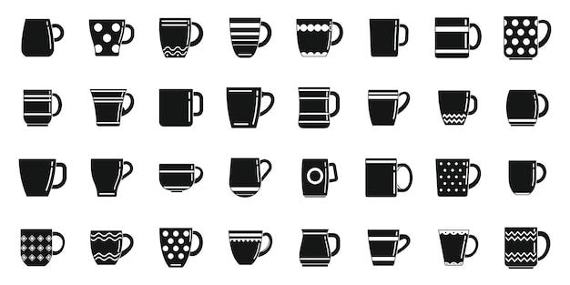Kubek ikony zestaw prosty wektor. filiżanka kawy. gorący kubek parowy
