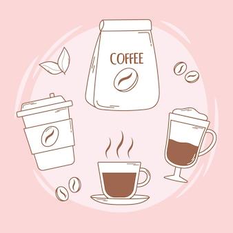 Kubek jednorazowy z opakowaniem kawy i frappe na ilustracji brązowej linii