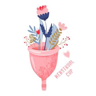 Kubek menstruacyjny z kwiatami. ochrona ekologiczna
