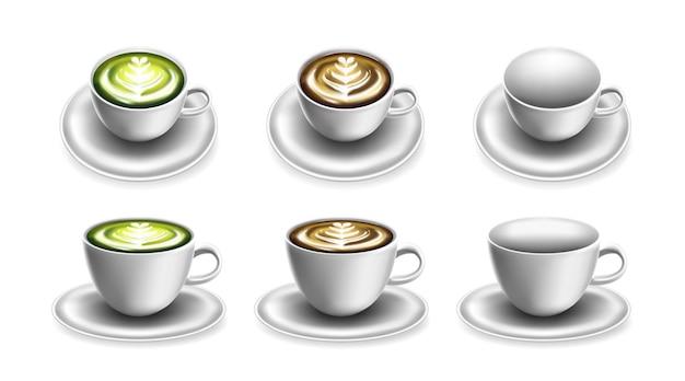 Kubek na kawę lub herbatę i gorący napój szablon makiety na logo