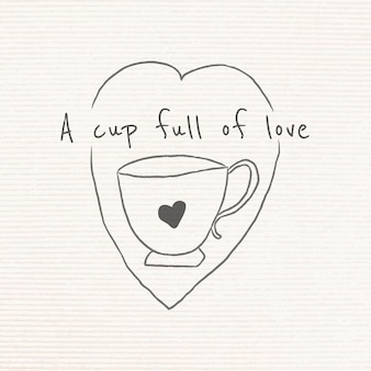 Kubek pełen miłości doodle stylu dziennika
