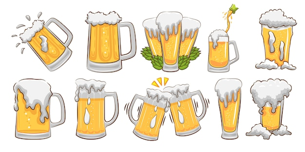 Kubek piwa wektor zestaw graficzny projekt clipart