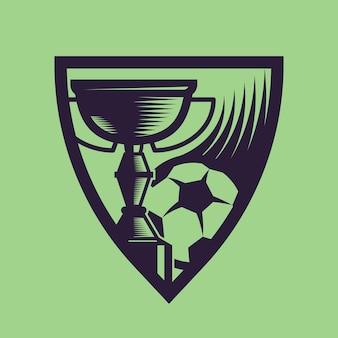 Kubek sportowy z piłką. grafika koncepcyjna piłki nożnej w stylu monochromatycznym.