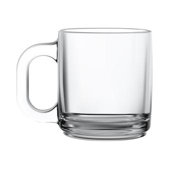 Kubek szklany. przezroczysty kubek herbaty na białym tle wektor makieta pusta. realistyczna filiżanka z ozdobnym szablonem uchwytu. projekt naczyń do napojów cappuccino. klasyczna filiżanka