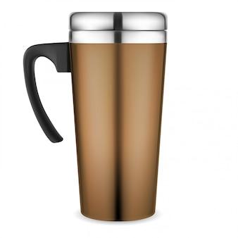 Kubek termiczny. podróżna filiżanka kawy. metalowa kolba