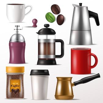 Kubek wektor kubek kawy do gorącego espresso i napojów z kofeiną w coffeeshop ilustracja zestaw młynek do kawy na ziarna lub francuska prasa na białym tle