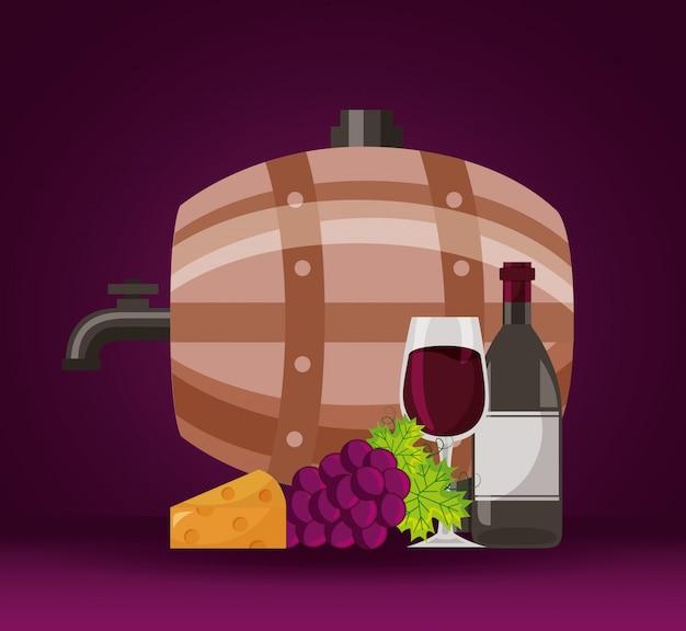 Kubek wina kiść świeżych winogron splash