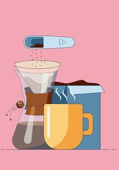 Kubek z dzbankiem na gorącą kawę i woreczkiem filtracyjnym z kawą i łyżeczką