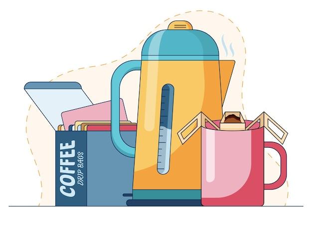 Kubek z gorącym napojem wykonanym przez worek ociekający kawą i gorącą wodę