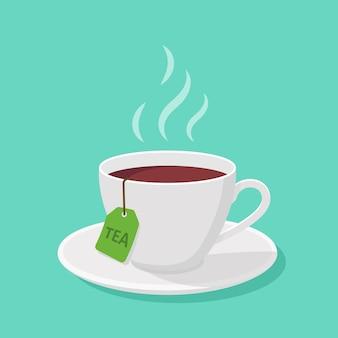 Kubek z herbatą i parą w stylu płaskiej - clipart
