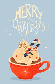Kubek z kakao i bitą śmietaną pozdrowienia świąteczne