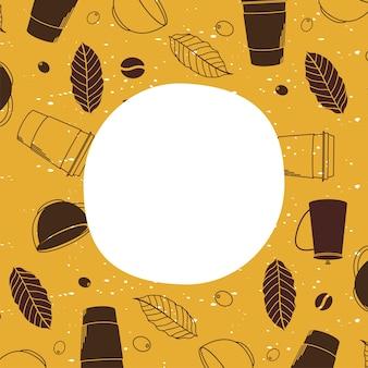 Kubki do kawy, filiżanki i liście motywu tła