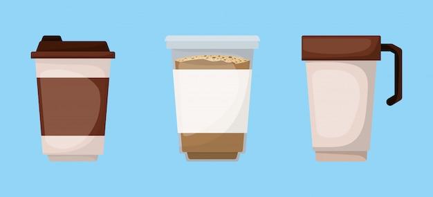 Kubki do kawy projekt, pić śniadanie piekarnia napój restauracja i sklep tematu ilustracji wektorowych