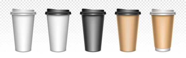 Kubki do kawy z zamkniętymi pokrywkami, opakowanie. puste plastikowe lub papierowe kubki na gorące napoje, przybory do kawiarni na wynos.