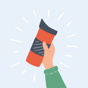 Kubki, kubek termiczny i szklanki wielokrotnego użytku z pokrowcem do zabrania gorącej kawy lub herbaty. ręcznie rysowane obiekt.