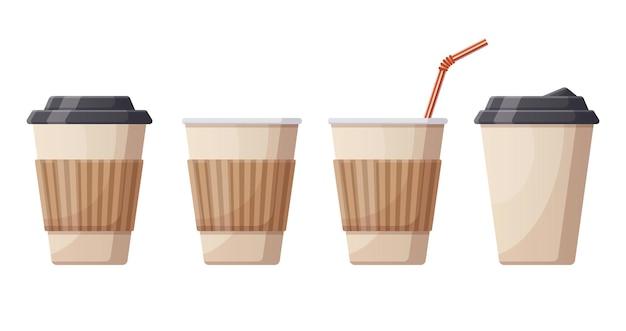 Kubki papierowe do gorącego napoju do kawy. kawiarnia, restauracja lub wyjąć plastikowe kubki do kawy, jednorazowe plastikowe gorące napoje filiżanka kawy ilustracja wektorowa. papierowy kubek do kawy. zestaw gorącego, napoju w filiżance, kawy espresso