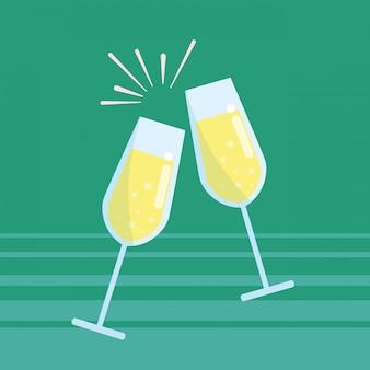 Kubki szampana toast na białym tle ikona