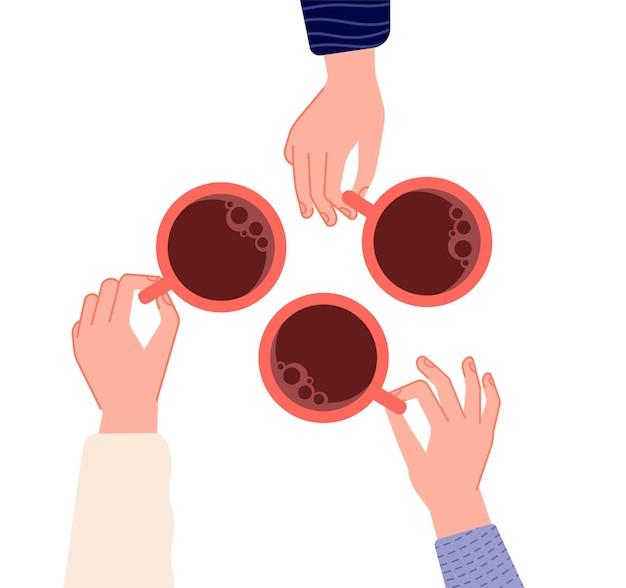 Kubki trzymając się za ręce. kawa, herbata w ręce kobiety. na białym tle kubki z gorącymi napojami w kawiarni. spotkanie przyjaciół lub ilustracji wektorowych rano czas. kubek gorącej kawy, ręka z kubkiem