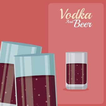 Kubki wódki i piwa