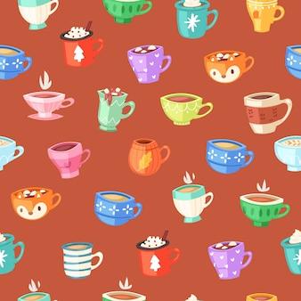 Kubki wzór, koncepcja tapety pić kawy, ilustracja retro, vintage, ilustracja. ładny element zastawy, ozdobny ornament, kolekcja naczyń kuchennych.