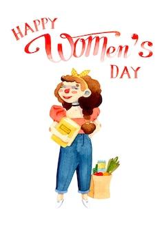 Kucharz dziewczyna dzień kobiet akwarela ilustracja na białym tle