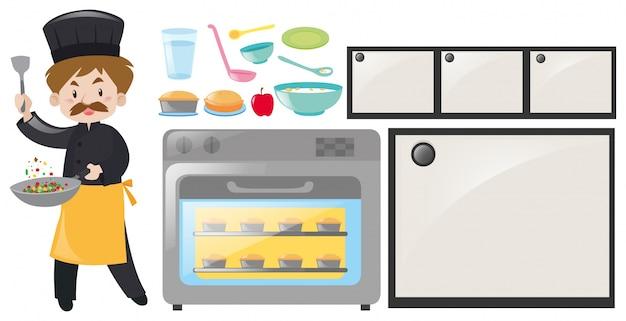 Kucharz i zestaw sprzętu kuchennego