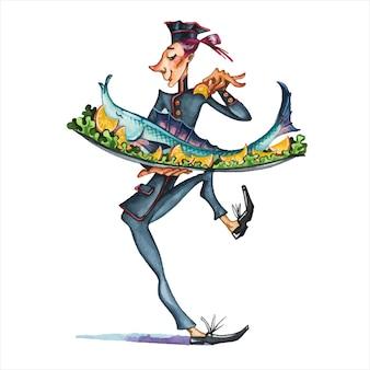 Kucharz ilustracja akwarela. pracownicy restauracji, personel kawiarni, postacie z kreskówek na tacy szefa kuchni