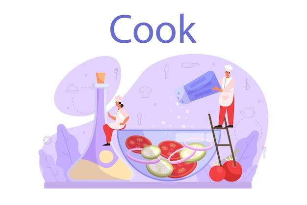 Kucharz lub specjalista kulinarny. szef kuchni w fartuch robi smaczne danie. pracownik zawodowy w kuchni. producent żywności. odosobniony
