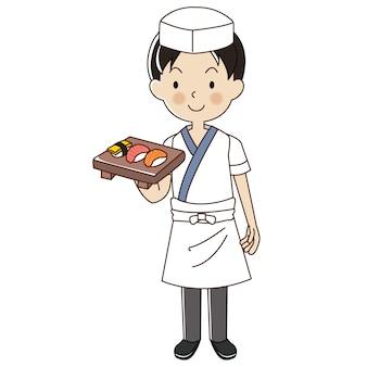 Kucharz mężczyzna sushi