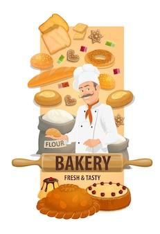 Kucharz piekarz z chlebem i słodkimi bułeczkami. uśmiechnięty szef kuchni w toczek, bajgiel, chleb kanapkowy, bochenek i ciasto, budyń i korovai, mąka w worku i wałku do ciasta, wektor ciasteczko i marmolada. deser w piekarni