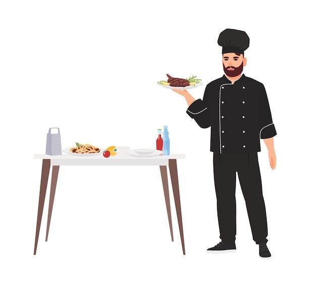 Kucharz ubrany w mundur trzymając talerz z pysznym posiłkiem dla smakoszy na białym tle. szef kuchni gotuje i serwuje smaczne jedzenie w restauracji. ilustracja wektorowa kolorowe w stylu cartoon płaskie.