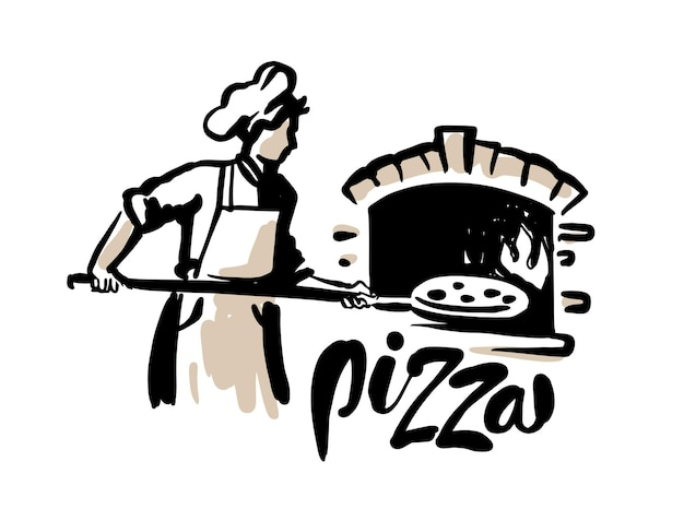 Kucharz wkłada pizzę do piekarnika. styl szkicu.