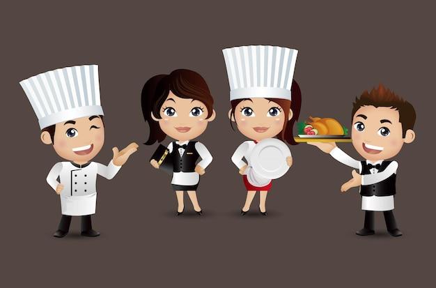 Kucharz zawodu z różnymi pozami