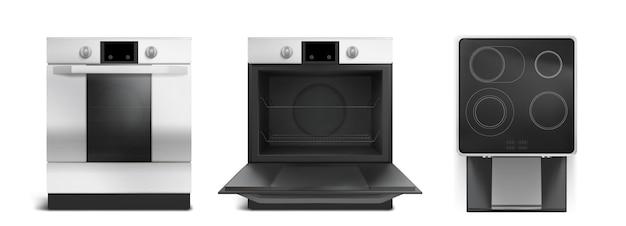 Kuchenka elektryczna, płyta indukcyjna z widokiem z przodu iz góry. wektor realistyczny zestaw kuchenki z zamkniętymi i otwartymi drzwiami piekarnika, czarna ceramiczna płyta kuchenna na białym tle