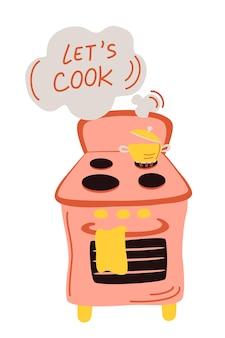 Kuchenka gazowa z wrzącą wodą w garnku gotowanie na ogniu zestaw wektorów woda gotująca się na ogniu