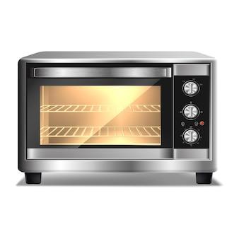 Kuchenka mikrofalowa ze światłem wewnątrz na białym tle urządzenia kuchenne