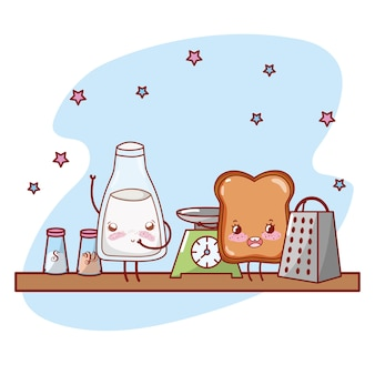 Kuchenna półki kreskówki kreskówki kawaii