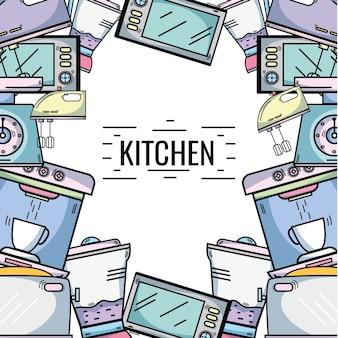 Kuchenny naczynia tła dekoraci projekt