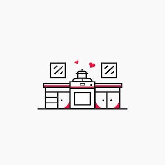 Kuchenny ustawia minimalnego kreskowej sztuki wektor