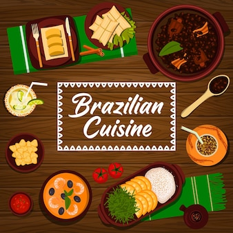 Kuchnia brazylijska wektor gulasz z czarnej fasoli feijoada, papka kukurydziana pamonha i knedle ziemniaczane coxinha. moqueca z gulaszem z owoców morza, skórki wieprzowe torresmo, koktajl z pomarańczowego ryżu lub limonki caipirinha, brazylijskie jedzenie