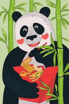 Kuchnia chińska pudełko z makaronem koncepcja plakatu chińska panda jeść pałeczkami narodowy posiłek wok w kolorze czerwonym