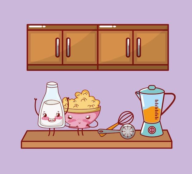 Kuchnia elementów kreskówka kawaii kreskówka