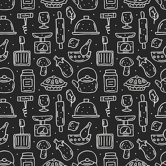 Kuchnia elementy ładny ręcznie rysowane wzór