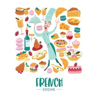 Kuchnia francuska zestaw clipartów tradycyjna kuchnia francuska