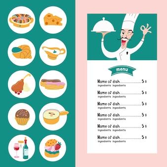 Kuchnia francuska. zestaw ikon wektorowych tradycyjnej kuchni francuskiej. szablon menu ze zdjęciem kucharza trzymającego danie.