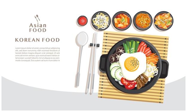 Kuchnia koreańska bibimbap, mieszanie ryżu z różnymi składnikami w widoku z góry czarną miskę ilustracji