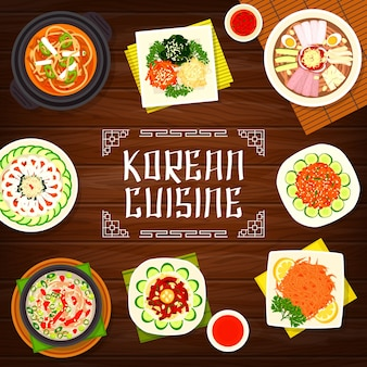 Kuchnia koreańska pyonguang zimny makaron i projekt ilustracji zupa wieprzowa kimchi